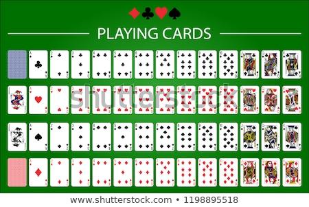 Oynama kart ayarlamak beyaz kalp kırmızı Stok fotoğraf © SArts