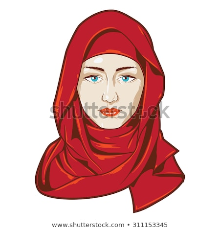 beautiful muslim arab woman portrait using a red veil vector fla stock photo © nikodzhi