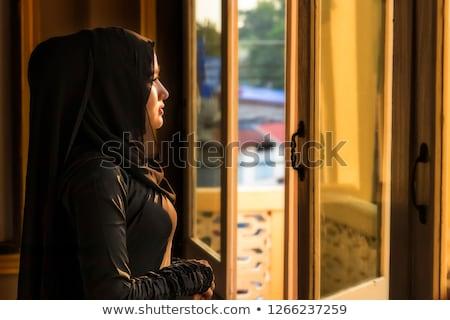 bride looking through the window Stock photo © tekso