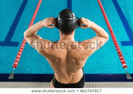 вид · сзади · человека · Смотреть · Бассейн · спорт · тело - Сток-фото © deandrobot