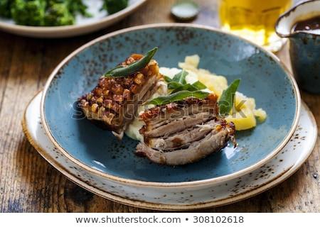 Stock fotó: Krumpli · pörkölt · disznóhús · szeletel · hús · fehér
