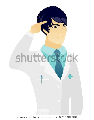 Doctor gesturing with his finger against temple. Stock photo © RAStudio
