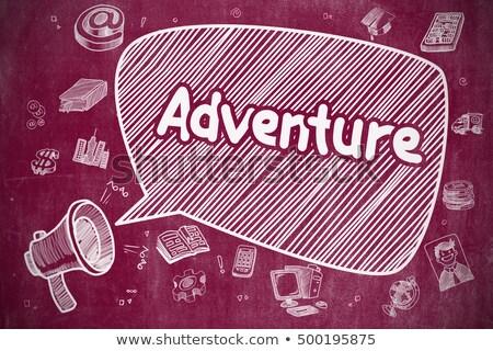 Kaland firka illusztráció piros tábla szövegbuborék Stock fotó © tashatuvango