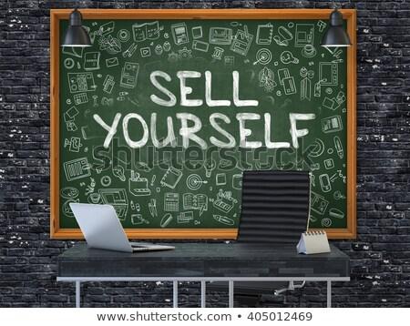Schoolbord kantoor muur verkopen jezelf groene Stockfoto © tashatuvango