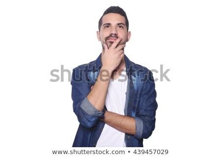Man denker geïsoleerd blanke man witte pop art Stockfoto © studiostoks
