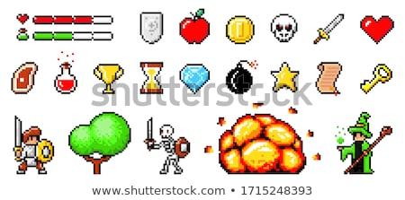 Toplama piksel nesneler kullanılmış oyunları kalp Stok fotoğraf © robuart