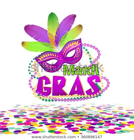 carnival mardi gras mask and colored confetti lettering text greeting card template stock photo © orensila