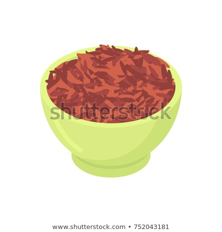 Bowl of red rice cereal isolated. Healthy food for breakfast. Ve Stock photo © MaryValery