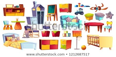 bedside table vector cartoon illustration stock photo © rastudio