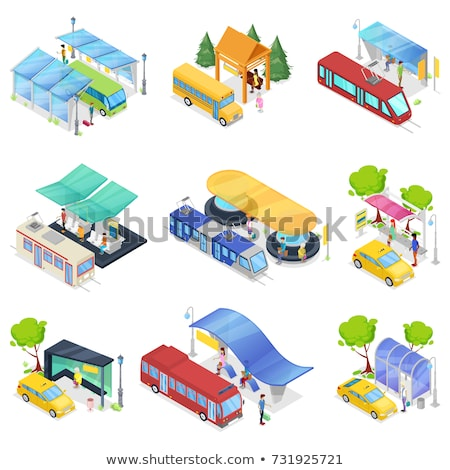 centre-ville · transport · arrêter · isométrique · 3D · icône - photo stock © studioworkstock