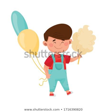 Boy carrying bunch of balloons outdoors Stock photo © IS2