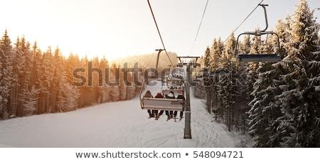 Ski lift winter blauwe hemel buitenshuis volwassen Stockfoto © IS2