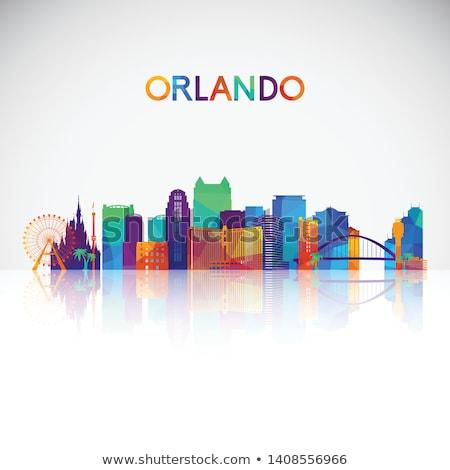 Orlando · Florida · város · sziluett · fekete · városkép - stock fotó © blamb