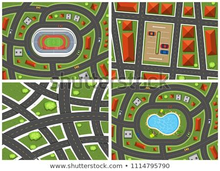 Szett térkép kilátás illusztráció út utazás Stock fotó © bluering