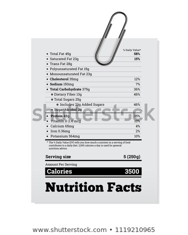 Nutrition facts label design with a paper clip. Vector Stock photo © m_pavlov