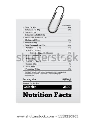 Voeding feiten label ontwerp paperclip vector Stockfoto © m_pavlov
