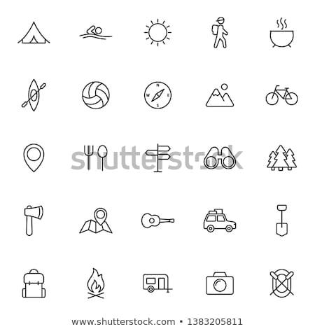 szett · kempingezés · utazás · ikonok · vékony · vonal - stock fotó © vectorikart