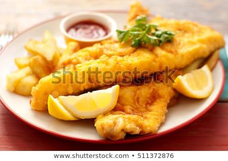 Sült hal sültkrumpli hagyományos leharcolt étel Stock fotó © unikpix