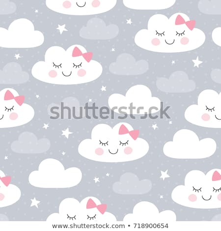 Сток-фото: Soft Pink And Gray Baby Clouds Seamless Vector Pattern