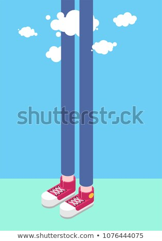 Long legs man and clouds. Tall man. Sneakers Isometrics Style Stock photo © popaukropa