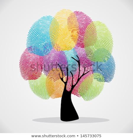 Green human hand print tree for ecology help Stock photo © cienpies