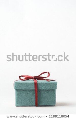 Turquoise Gift Box Tied with Red Raffia Ribbon Stock photo © frannyanne