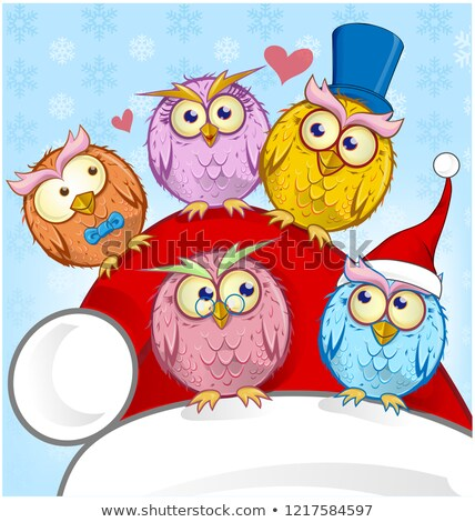 greeting christmas card five owls on blue background stock photo © doomko