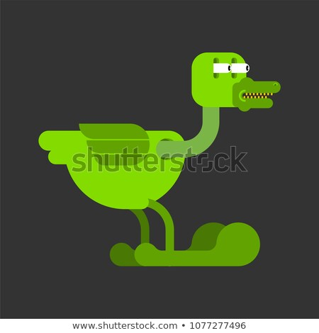 Duck dinosaur monster prehistoric. Green drake. Vector illustrat Stock photo © MaryValery