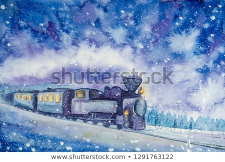 Railway at winter night landscape Stock photo © jossdiim