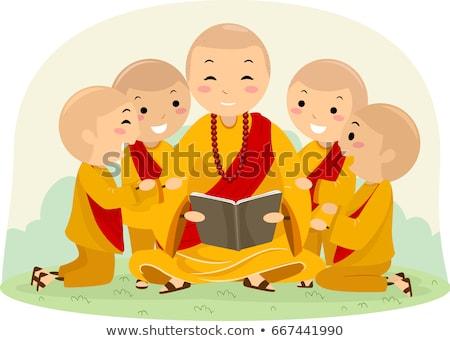 budist · keşiş · mutlu · karikatür · ayakta · gülen - stok fotoğraf © lenm