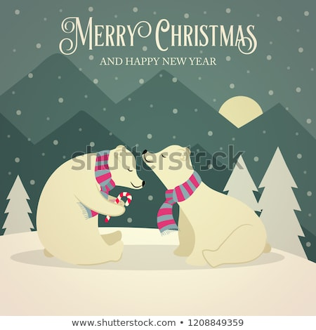 beautiful retro christmas card with polar bears couple stock photo © balasoiu