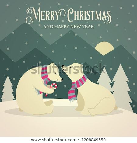 Beautiful retro Christmas card with polar bears couple Stock photo © balasoiu