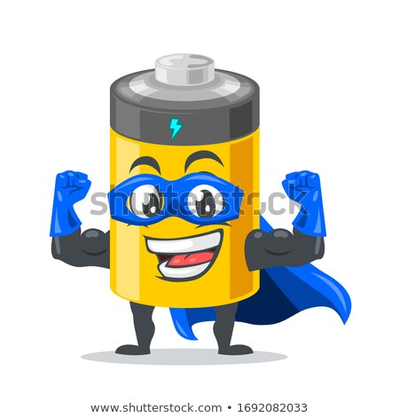 Glimlachend batterij cartoon mascotte karakter geïsoleerd Stockfoto © hittoon