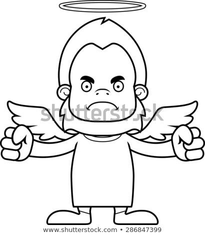 karikatür · öfkeli · melek · goril · bakıyor - stok fotoğraf © cthoman