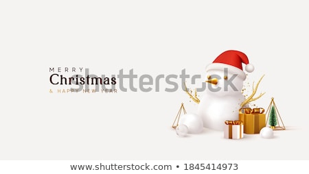 christmas gold baubles on pine tree greeting card stock photo © cienpies