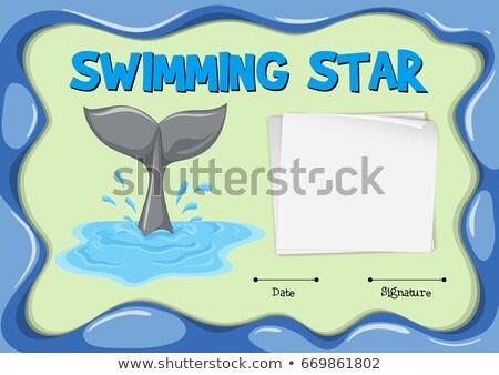 Yüzme star sertifika yunus kuyruk örnek Stok fotoğraf © colematt