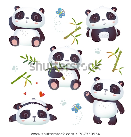 Panda zestaw ilustracja ponosi sam zwierząt Zdjęcia stock © colematt