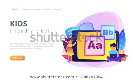 Gyerekek digitális tartalom leszállás oldal gyerekek Stock fotó © RAStudio