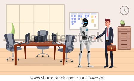 Stockfoto: Robot With Briefcase Shakes Hands With Businessman Vector Isolated Illustration