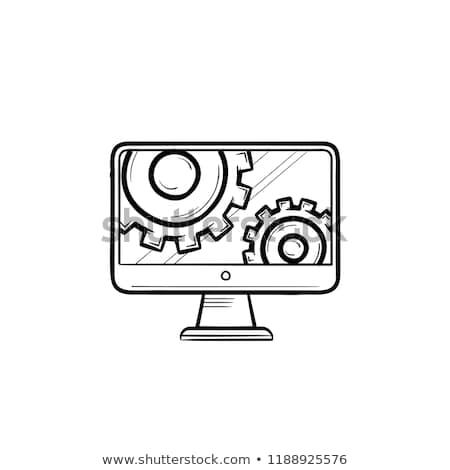 Foto stock: Monitor · engrenagens · rabisco · ícone