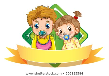 label design wtih two babies stock photo © colematt