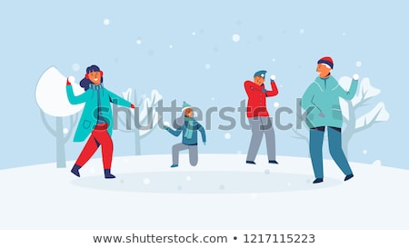 happy boy playing and throwing snowball in winter Stock photo © dolgachov