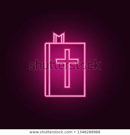 İncil neon din tanıtım Paskalya kâğıt Stok fotoğraf © Anna_leni