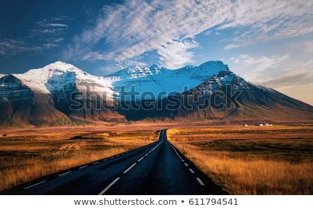 Yol İzlanda dağ görmek numara mavi gökyüzü Stok fotoğraf © Kotenko