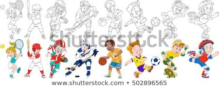 Cartoon chłopca gry Hokej ilustracja sportu Zdjęcia stock © bennerdesign