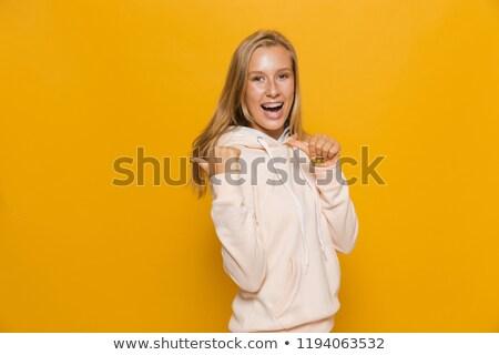 Fotografia teen uczennica stomatologicznych szelki wskazując Zdjęcia stock © deandrobot