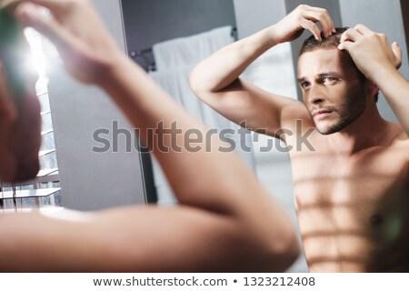 Homoszexuális férfi aggódó haj veszteség otthon Stock fotó © diego_cervo