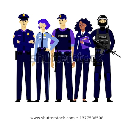 Policewoman and Policeman Vector Illustration Stock photo © robuart