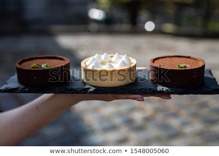Dulce limón chocolate frescos mesa de madera alimentos Foto stock © boggy