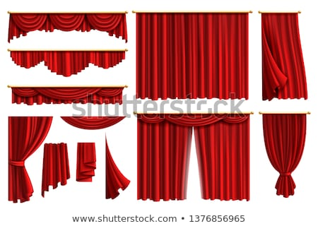 curtain red silk set vector velvet theater or cinema luxury textile drapery fabric cloth waving sh stock photo © pikepicture